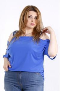 Фото Голубая блузка с надписями на лямках | 01180-3