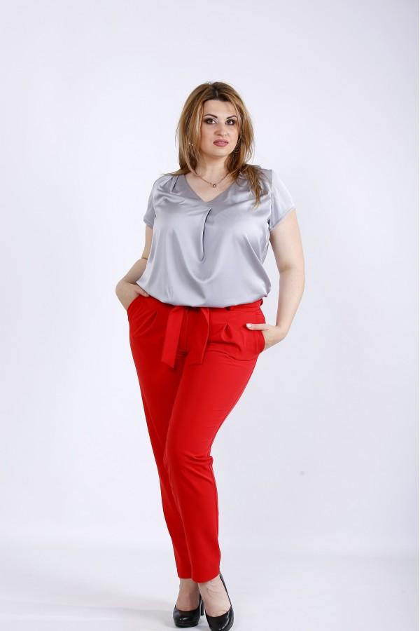 Фото Сталева шовкова блузка | 01182-3