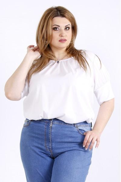 Фото Белая легкая блузка из поплина | 01184-1