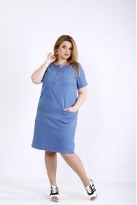 Фото Джинсовое модное стрейчевое платье  | 01185-1