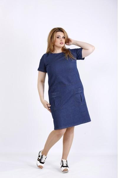 Фото Темное джинсовое стрейчевое платье с карманами | 01186-1