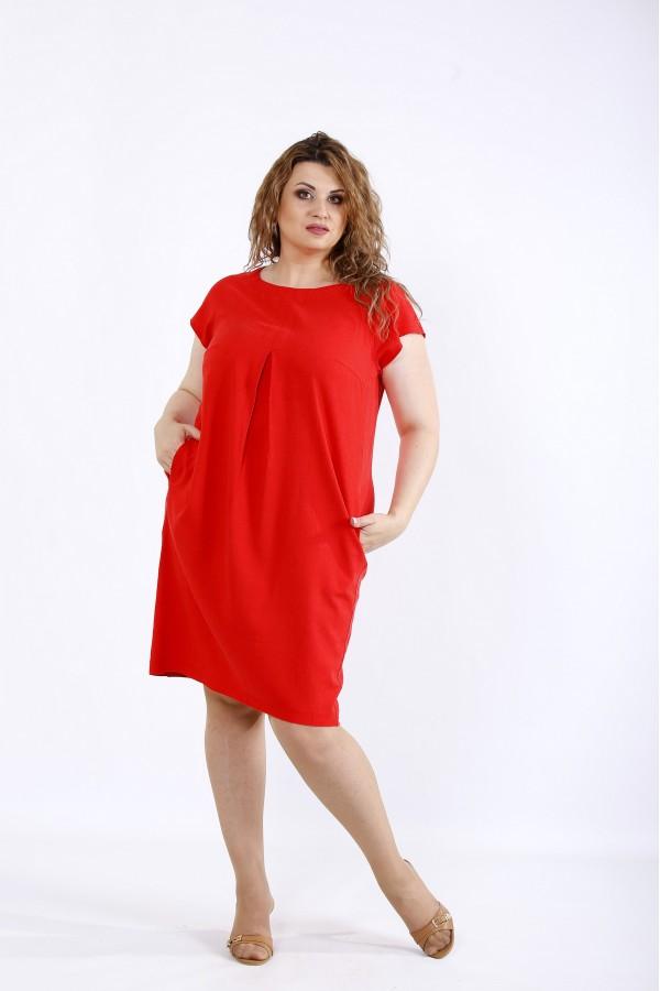 Фото Коралове літнє плаття з льону | 01174-3