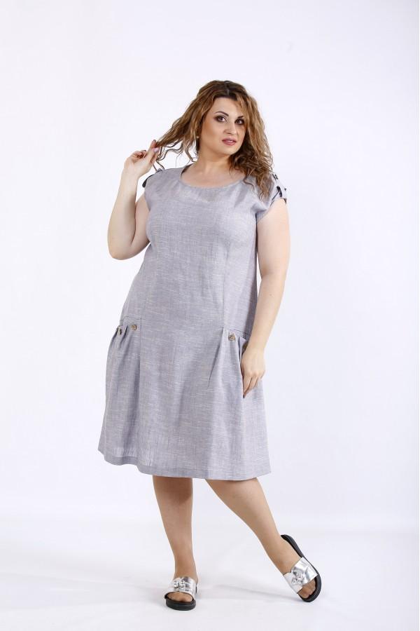 Фото Світле сіре вільне плаття | 01178-3