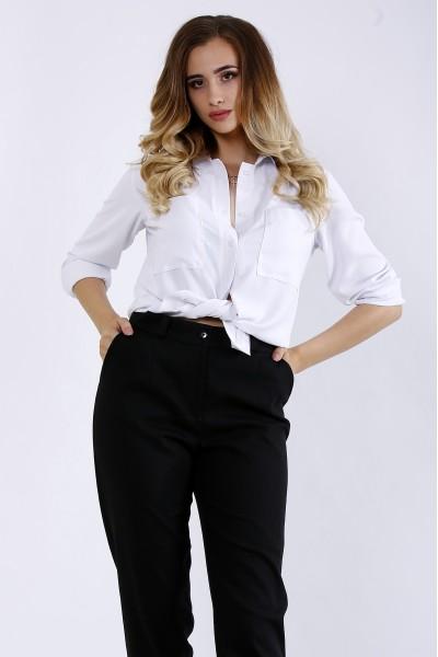Фото Белая легкая льняная блузка | 01181-1