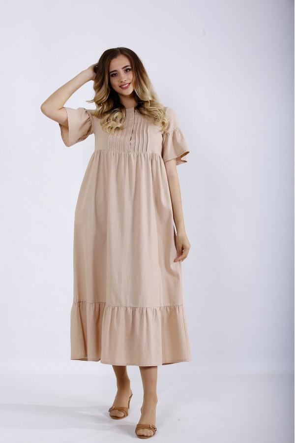 Фото Бежеве приховуюче плаття з льону | 01183-1