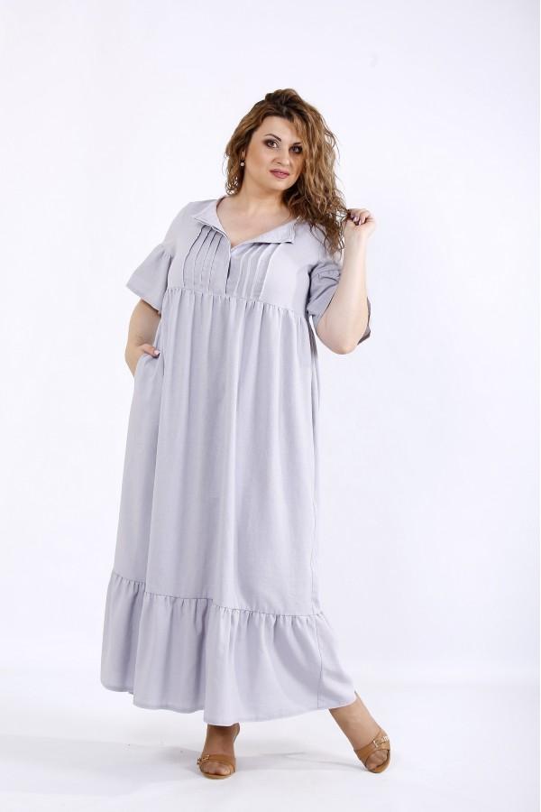 Фото Світло сіра літня довга сукня з льону | 01183-3