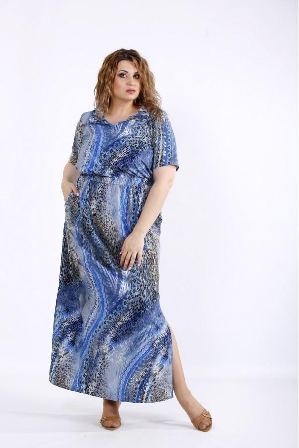 Фото Літнє легке блакитне плаття максі | 01190-2