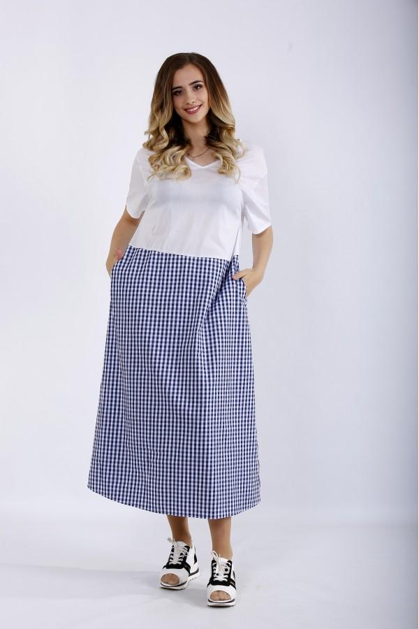 Фото Комбіноване плаття в клітку | 01192-1