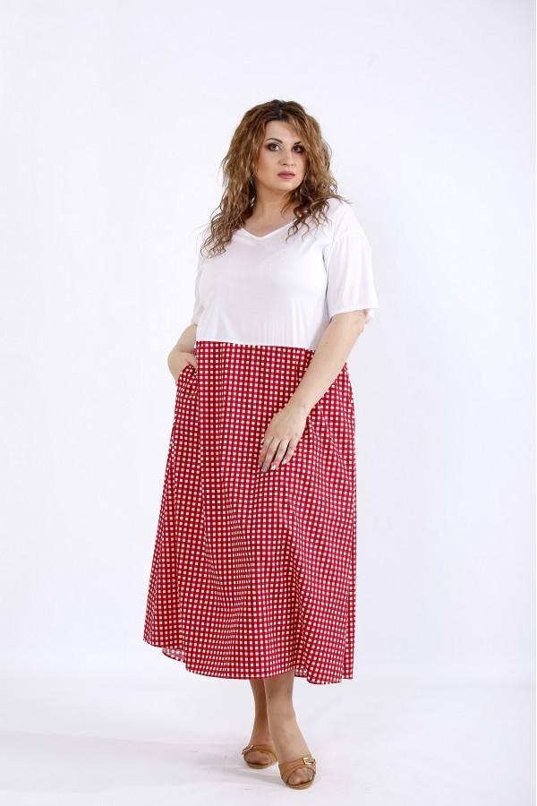 Фото Сукня з червоною спідницею в клітку | 01192-2