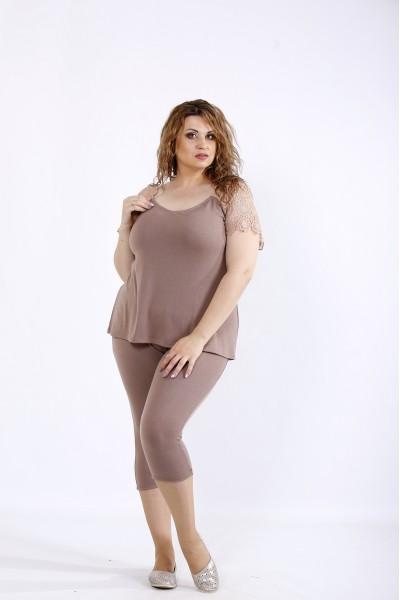 Фото Бежевый комплект: капри и блузка | 01195-2