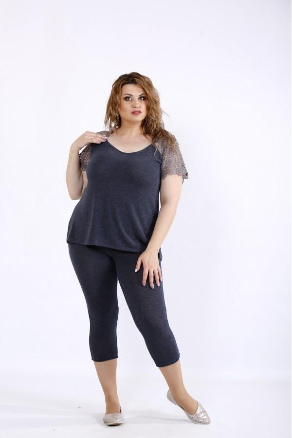 Фото Серый удобный комплект: капри и блузка | 01195-3