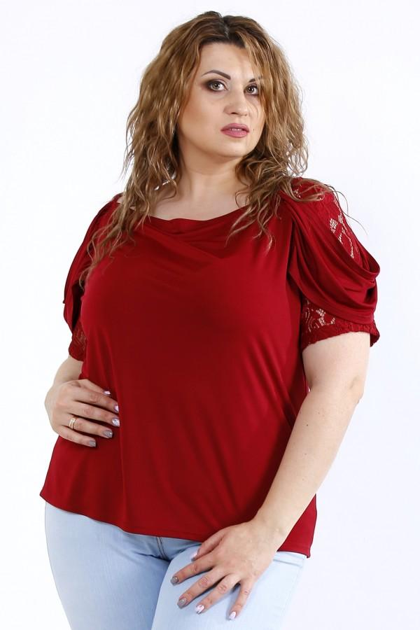 Фото Бордовая блузка с вставками из гипюра | 01196-2