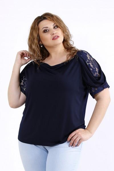 Фото Синя блуза з коротким рукавом | 01196-3