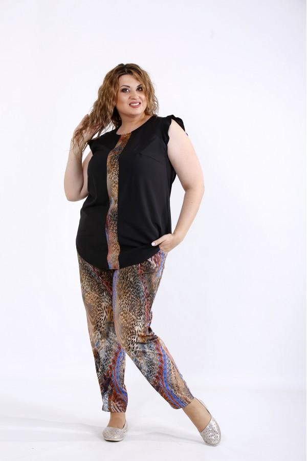 Фото Комплект с коричневым принтом: блузка и штаны | 01197-2