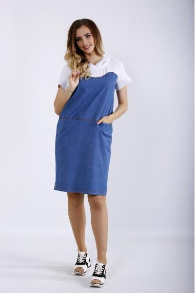 Фото Комбинированное платье из двух тканей | 01200-1
