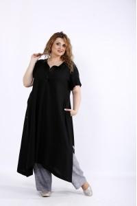Фото Льняной легкий комплект: туника и штаны   01203-2