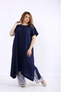 Фото Скрывающий легкий комплект из льна: туника и брюки   01203-3