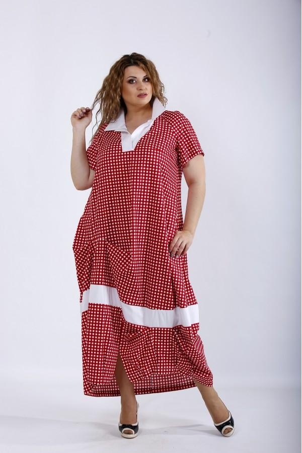 Фото Червона сукня нижче коліна в клітку | 01204-2