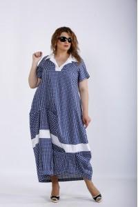 Фото Синее платье в клетку   01204-3