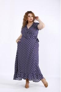 Фото Синее платье в горох   01205-2