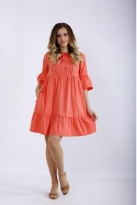 Фото Короткое коралловое платье   01206-1