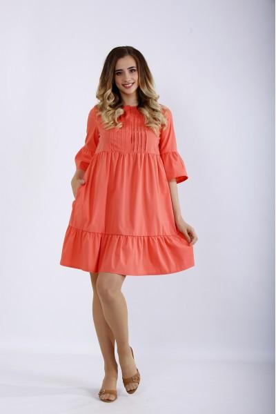 Фото Короткое коралловое платье | 01206-1