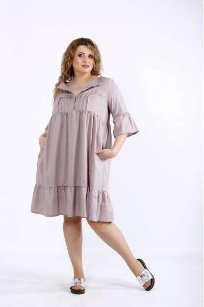 Фото Бежевое платье до колена | 01206-2