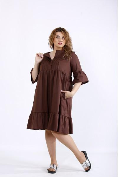 Фото Шоколадное свободное скрывающее платье | 01206-3