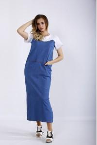 Фото Длинное модное джинсовое платье | 01207-1
