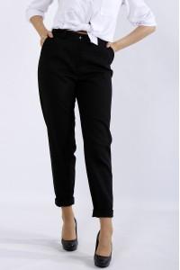 Фото Черные брюки из льна   b055-1