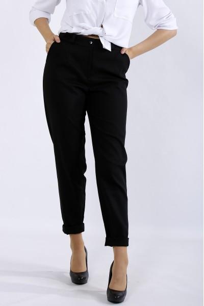 Фото Черные брюки из льна | b055-1