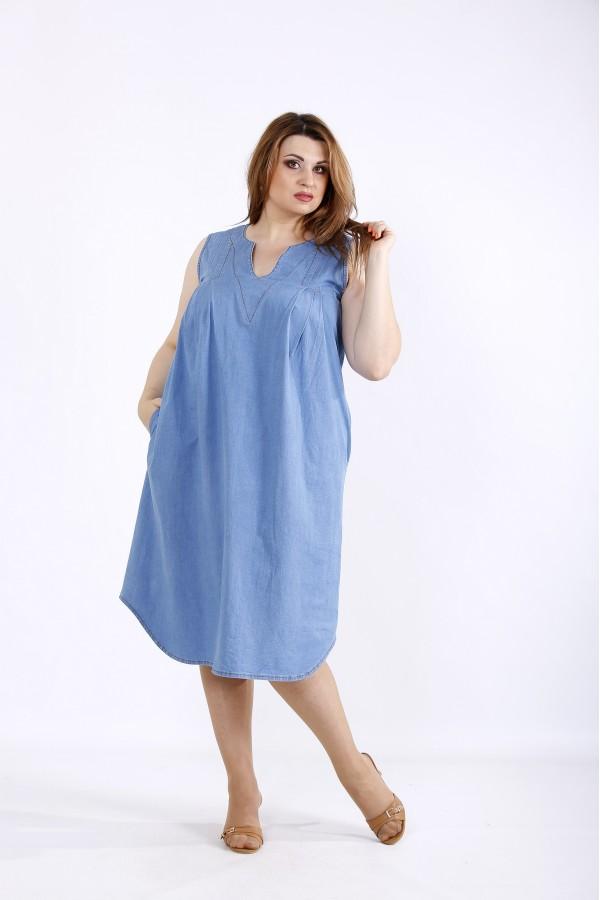 Фото Вільне джинсове плаття | 01208-1