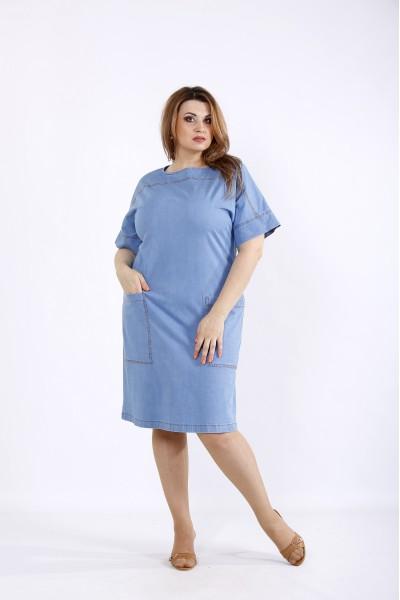 Фото Блакитне джинсове плаття з кишенями | 01209-1