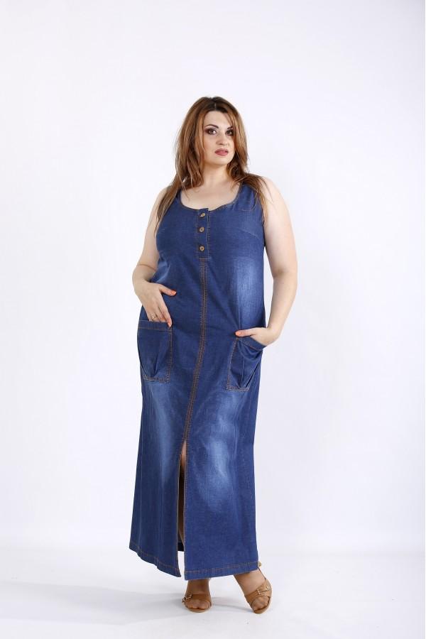 Фото Длинное синее джинсовое платье | 01211-1