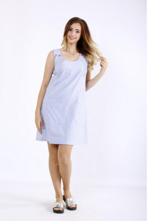 Фото Легке блакитне плаття в смужку | 01212-1