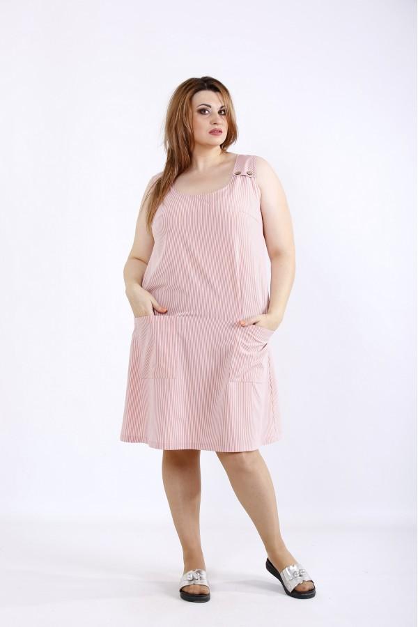 Фото Світле плаття в червону смужку | 01212-2