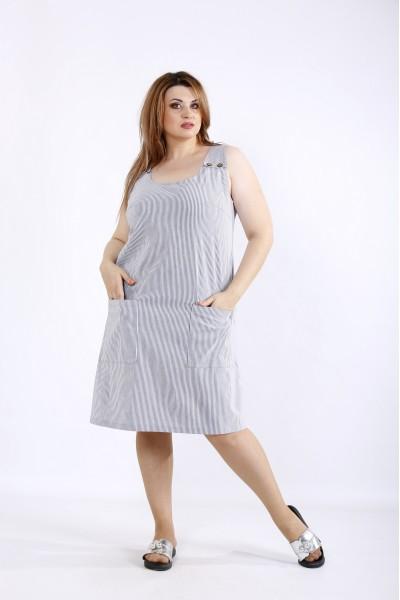 Фото Літнє плаття в чорну смужку | 01212-3