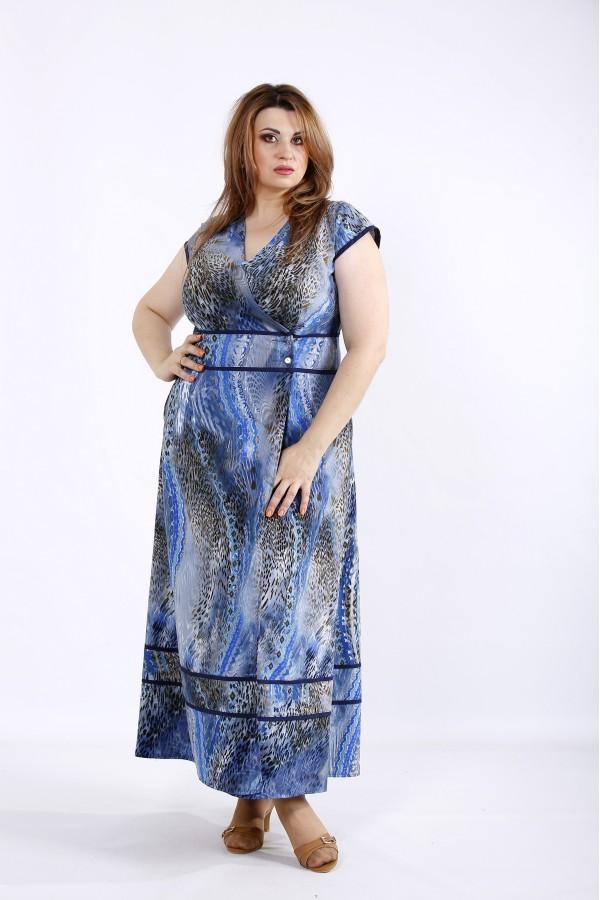 Фото Голубое летнее платье макси | 01213-2