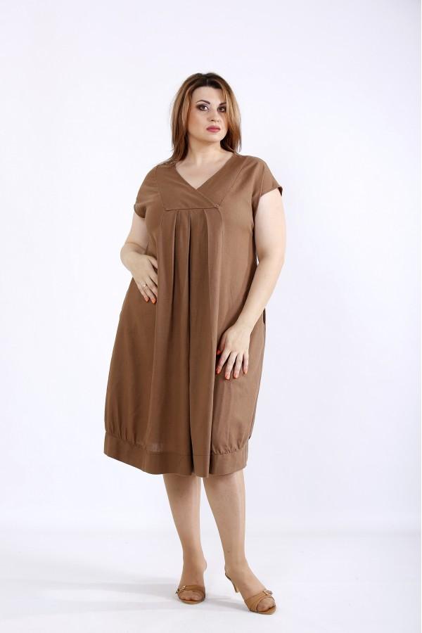 Фото Шоколадное льняное платье | 01214-1