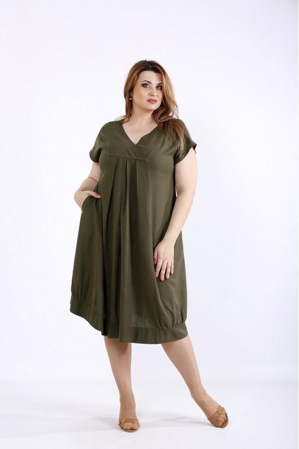 Фото Платье хаки из льна | 01214-3