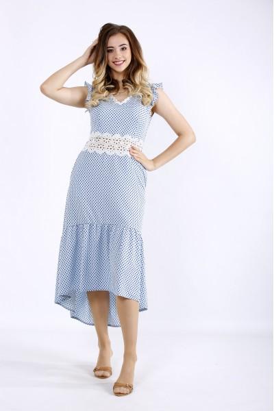 Фото Голубое платье с кружевом | 01216-1