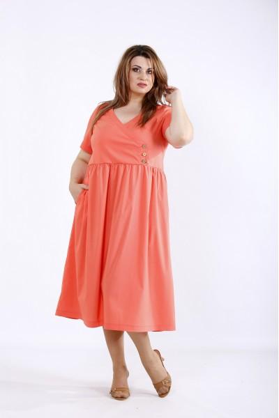 Фото Коралловое свободное стрейчевое платье | 01217-2