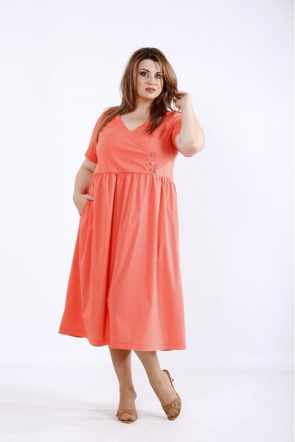 Фото Коралове вільне стрейчеве плаття | 01217-2