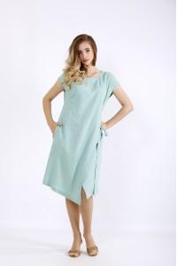 Фото Асимметричное платье шалфей | 01218-1