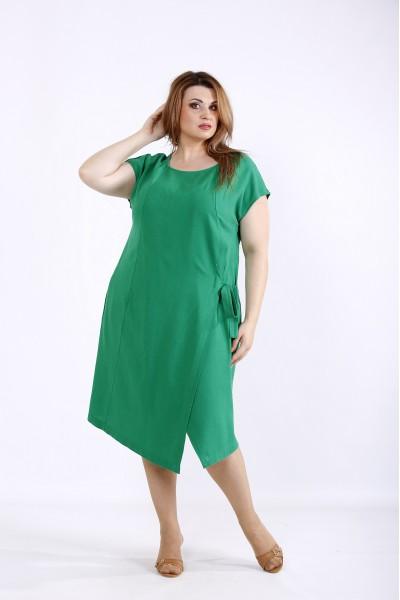 Фото Зелена сукня з льону | 01218-2