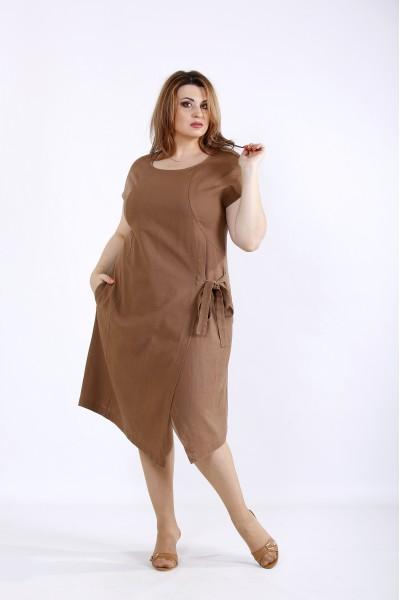 Фото Шоколадне плаття з льону | 01218-3