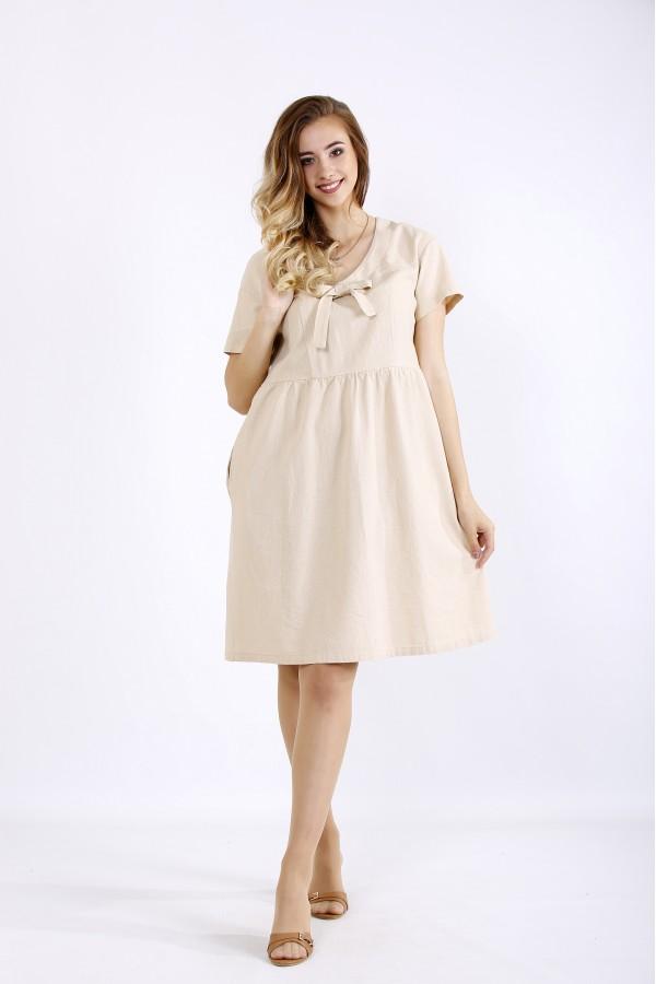 Фото Бежевое легкое льняное платье | 01219-1