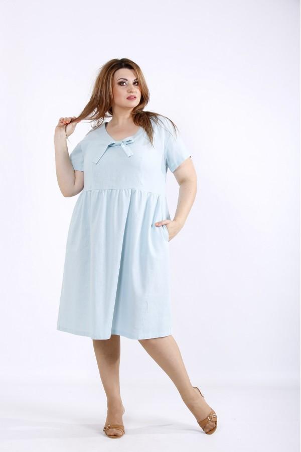 Фото Мятное платье из льна | 01219-3