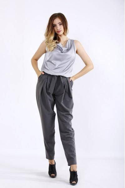 Фото Серый костюм: брюки и блузка | 01220-1