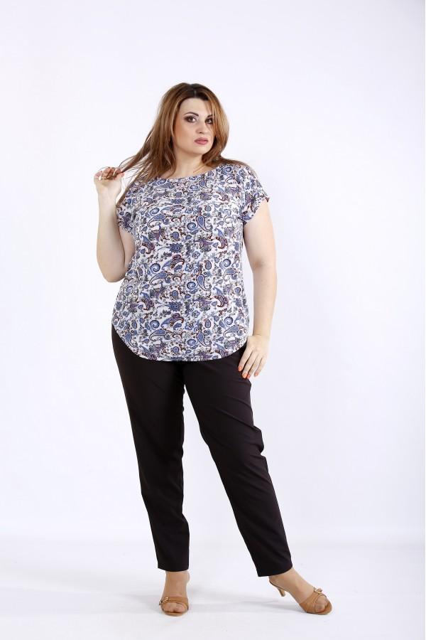 Фото Комплект с синим принтом: блузка и штаны | 01221-2